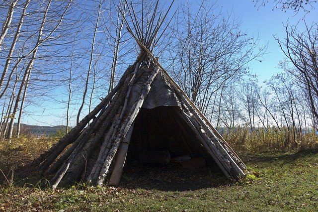 wooden teepee structure