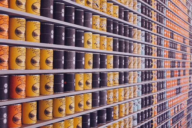 cans on shelves