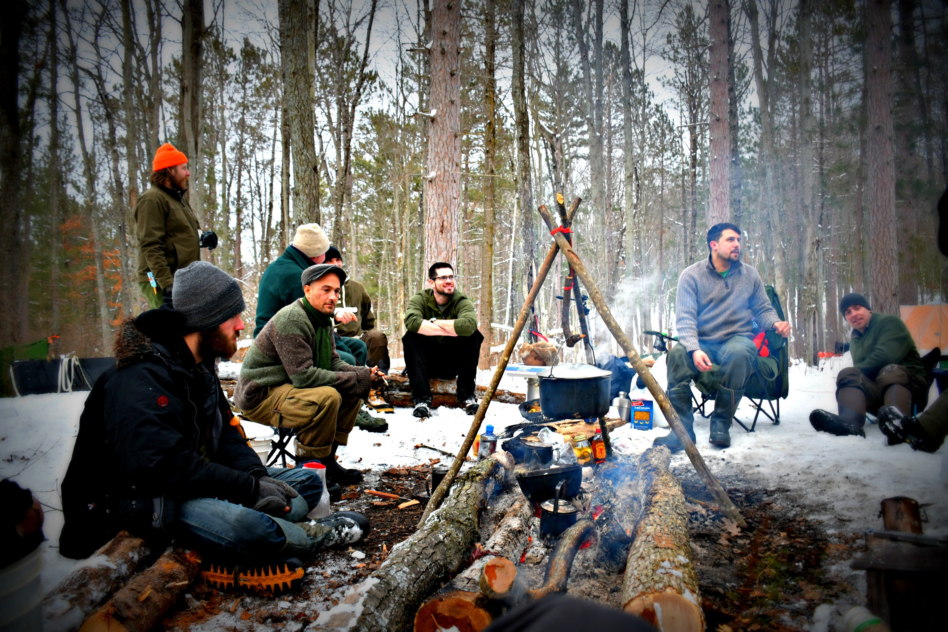 winter camp around a fire